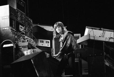 Keith Emerson wearing his Tarkus-skin cloak